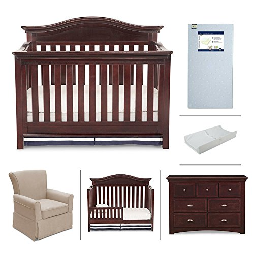 Nursery Furniture Set with Convertible Crib, Crib Mattress, Glider, Dresser, Changing Pad and Daybed/Toddler Guardrail by Simmons Kids – 6-Piece Augusta Collection in Molasses Brown