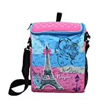 Shopaholic Attractive Paris Printed Box Shaped 2 in 1 School Bag For Teenagers Also Fits Exam Pad