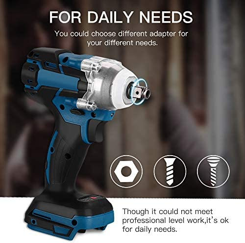 Impact Wrench, Riiai Electric Impact Wrench Cordless Impact Driver1/2 Inch 520N.m 18V Cordless Impact Driver 1/2 Square Brushless Rechargeable Wrench LED Light