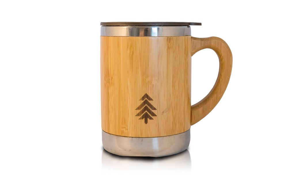 Stainless Steel and Bamboo Insulated Mug with Lid and Handle - Eco Friendly Natural Wood Design - Great for Coffee, Tea or Beer - 9oz