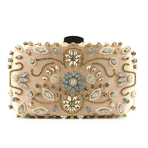 Crystal Evening Bag Handmade Rhinestones Pearl Women Clutch Bags Vintage Satin Lady Party Wedding Clutches Pink