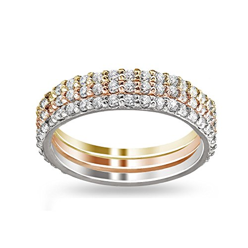 Hoops & Loops Sterling Silver Tri-Color Stackable Cubic Zirconia Eternity Band Ring Set, Size 6 - Eternity Loop