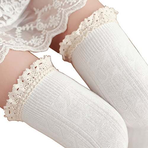 Tuesdays2 Women's Lace Trim Knee-High Boot Socks (White)