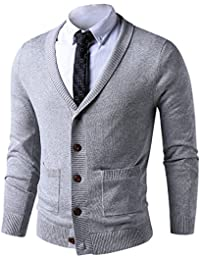Mens Slim Fit Soft Cable Knit Shawl Collar Button Down Cardigan Sweater With Ribbing Edge