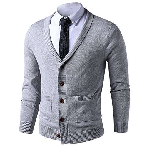 LTIFONE Mens Slim Fit Soft Cable Knit Shawl Collar Button Down Cardigan Sweater with Ribbing Edge(Grey,L) by LTIFONE
