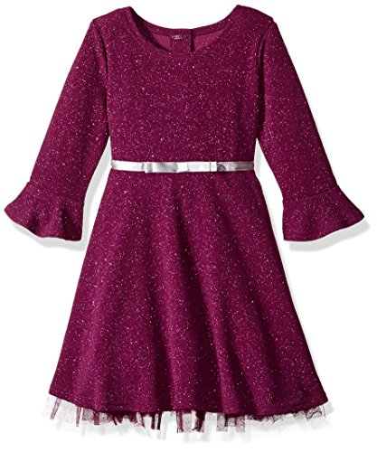 Youngland Girls' Toddler' Bell Sleeve Glitter Knit Dress with Satin Ribbon Waist, Plum, 2T -