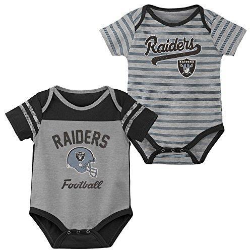 Outerstuff NFL NFL Oakland Raiders Newborn & Infant Dual-Action 2 Piece Bodysuit Set Heather Grey, 24 Months