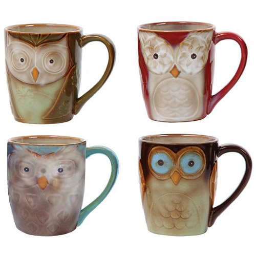 Coffee Cup set  by Gibson Owl City 17 oz  Mug Set Assorted colors 4 piece set Hand painted by Gibson