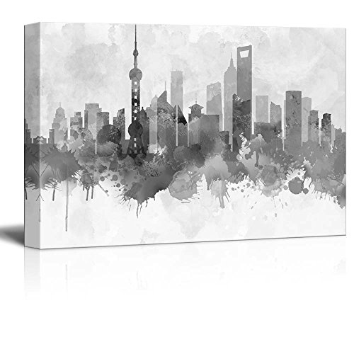 Black and White City of Shanghai in China with Watercolor Splotches