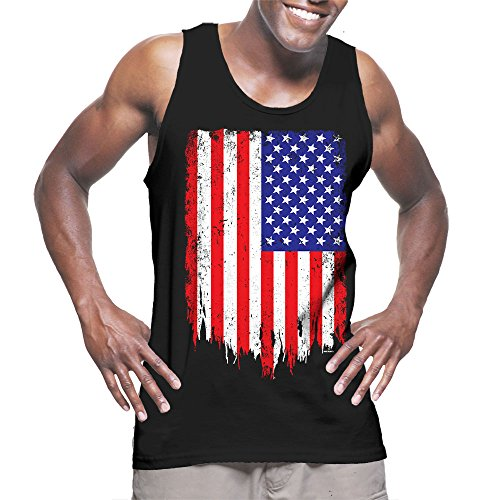 Mens-Big-Disteressed-American-Flag-USA-Tank-Top-T-shirt