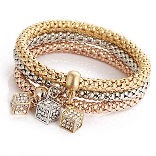 PORPI-JOJO Square Stretch Bracelets 3PCS Gold/Silver/Rose Gold Tone Corn Chain Multilayer for Women ()