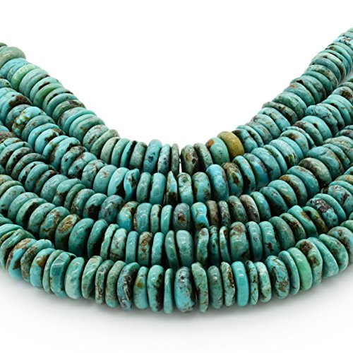 Bluejoy Genuine Natural American Turquoise 10mm Free-Form Disc Bead 16 inch Strand for Jewelry Making
