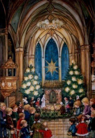 Christmas Eve Church Service German Advent Calendar