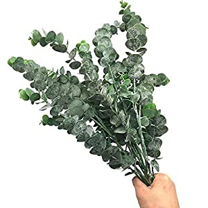 MARJON Flowers3 Pack Faux Eucalyptus Leaves Spray with 5 Stems Artificial Eucalyptus Branches Plants Artificial Greenery Stems Tall in Grey Green for Greenery Wedding Party Floral Arrangement 3