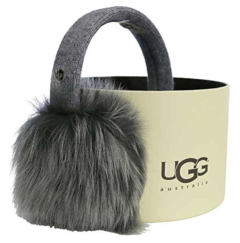 UGG Womens Wired Luxe Earmuff With Toscana Fur In Medium Grey