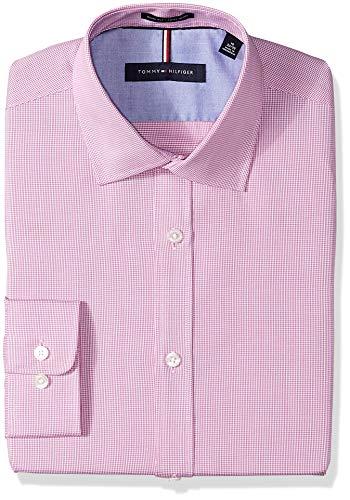 (Tommy Hilfiger Men's Dress Shirts Non Iron Slim Fit Check, Pink, 15
