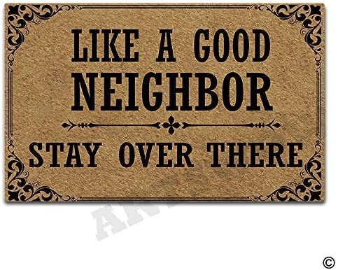 Artswow Door Mat Indoor Outdoor Entrance Floor Mat with Non-Slip Rubber Backing Door Mat 23.6 by 15.7 Inch, Like A Good Neighbor Stay Over There