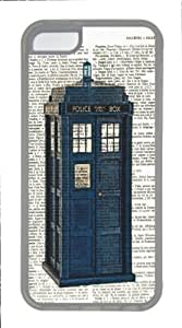 The Tardis Print Doctor Who Print on an Vintage Dictinoary Doctor Who Transparent TPU Case Cover Fits APPLE iphone 5c