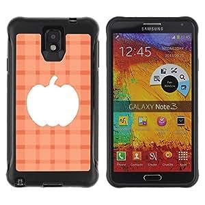 Híbridos estuche rígido plástico de protección con soporte para el SAMSUNG GALAXY NOTE 3 - plaid peach orange halloween