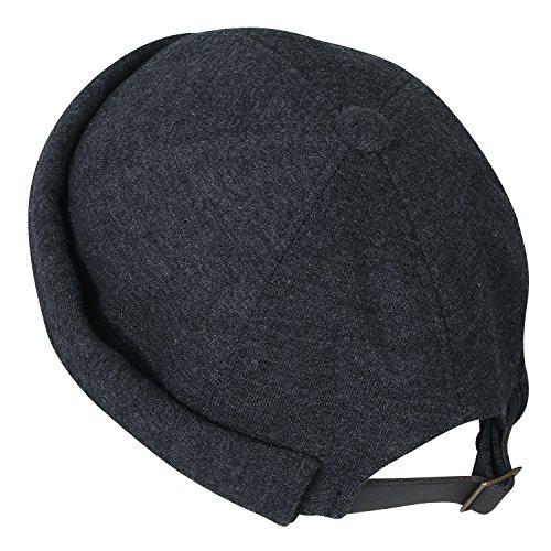 ililily Solid Color Cotton Short Beanie Strap Back Casual Hat Soft Cap, Dark Grey by ililily (Image #1)