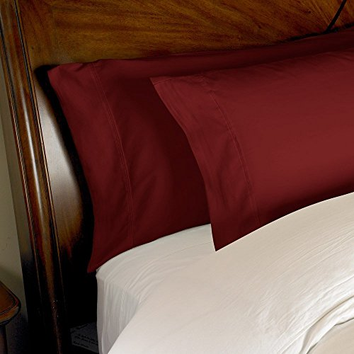 Best Selling VGI Linen ( Solid Pattern ) Hotel Series 100% Egyptian Cotton Quality Genuine 600 Thread Count 2-PCs Pillow Cases Standard Size, Burgundy Color ( 20