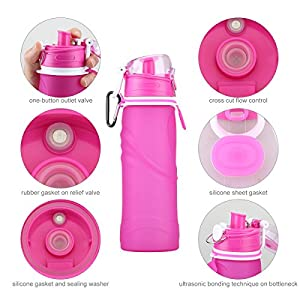 INMKAER Collapsible Water Bottle, Leak Proof Medical Grade Silicone Travel Water Bottle, 26 fl.oz