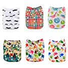 Alva Baby 6pcs Pack Pocket Washable Reusable Cloth Diaper with 2 Inserts Each (Girl Color)6DM13
