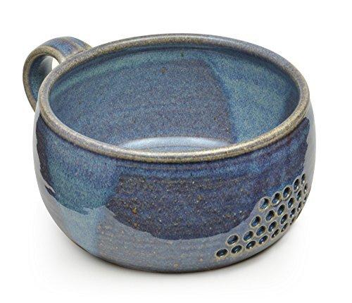 Small Handmade Bowl (GW Pottery Handmade Stoneware Berry Bowl/Colander, Blue)