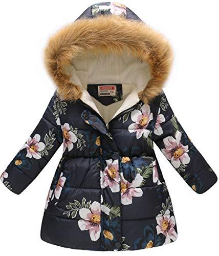 Girl's Kids Toddler Winter Flower Print Parka Outwear Warm Cotton Coat Hooded Jacket Girl's Kids Toddler Winter Flower Print Parka Outwear Warm Cotton Coat Hooded Jacket Purplish blue ()