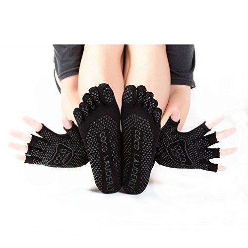 New Female non-slip yoga pilates cotton socks and gloves.