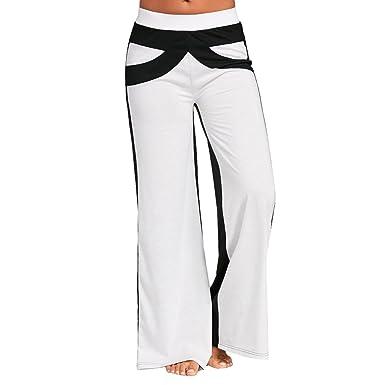 Dihope Femme Large Pantalon Casual Hip-hop Pants Bouffant Palazzo Taille  Élastique Trousers pour Fitness 29913bfc7ea