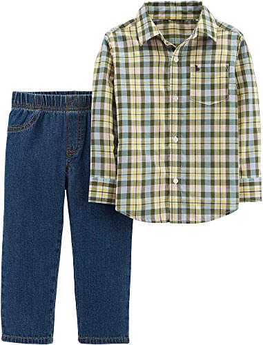 Carter's Baby Boys Plaid Pocket Jeans Set 6 Months Yellow/Blue (Carter Jeans)