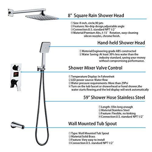 Derpras DPS003 LED Digital Display Wall Mount Bathroom Rain Mixer Shower Set, 3 Way Shower System with Luxury Rainfall Shower Head, Handheld Shower and Tub Spout Faucet, Fahrenheit Display by Derpras (Image #2)
