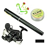 Multi Outools Pen Fishing Pole 38 Inch Mini Pocket Fishing Rod and Reel Combos Travel Fishing Rod Set for Ice Fly Fishing Sea Saltwater Freshwater, Gift for Festivals (Black)