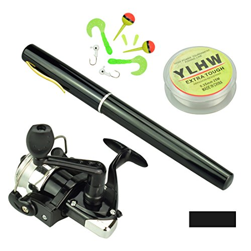 Multi Outools Pen Fishing Pole 38 Inch Mini Pocket Fishing Rod and Reel Combos Travel Fishing Rod Set for Ice Fly Fishing Sea Saltwater Freshwater, Gift for Festivals (Black) (Fishing Rod Pen Pole Reel)
