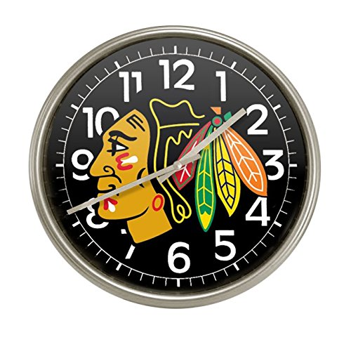 New Silver Finish Round Wall Hanging Clock featuring Chicago Silverhawks Team Logo (Team Logo Wall Hanging)