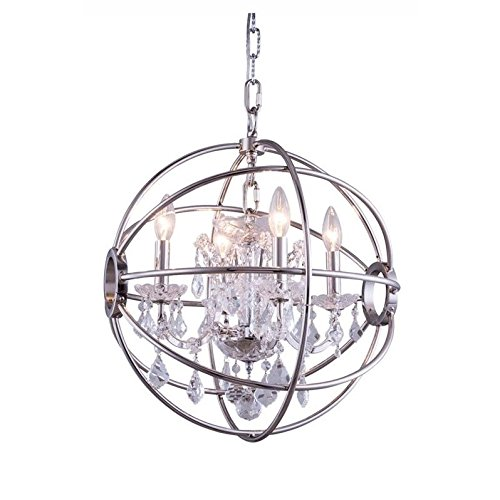 - Elegant Lighting Geneva Collection 4-Light Pendant Lamp with Royal Cut Crystals, Polished Nickel Finish