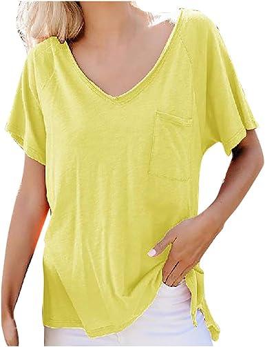 Camisetas de Verano para Mujer Casual Tops Color sólido V ...