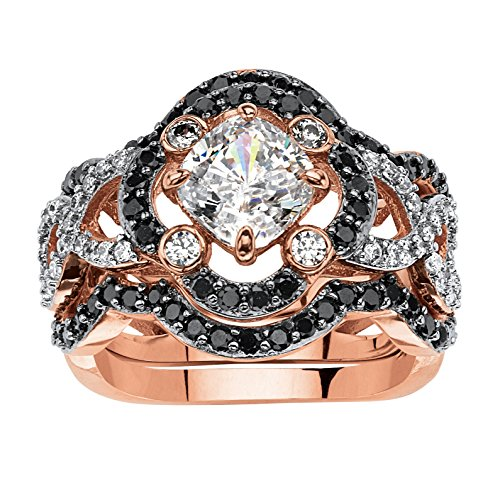 White and Black Cubic Zirconia Rose Gold-Plated 3-Piece Crossover Halo Bridal Ring Set Size 8