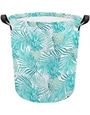 Turquoise Palm Leaves And Pineapples Laundry Basket Foldable Waterproof Portable Bedroom Bathroom Closet Clothes Toy Storage Box Storage Bag 17.3H x 16.5D Inches