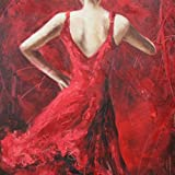 bruce lee quest of the dragon - Sunflower Art Sexy Dancing Girl in Red Dress Paintings Figurative Art 100% Handpainted Canvas Oil Paintings Wood Stretched Home Decor Ready To Hang 24x24