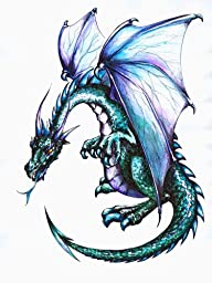 Blue Dragon Wall Decal - 18 inches x 14 inches - Peel and Stick Removable Graphic