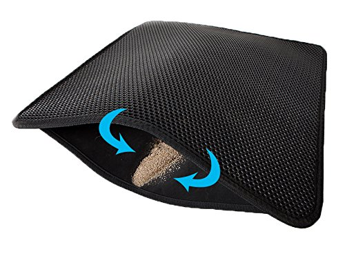 Litter Trapper Mat - Lepet Cat Litter Mat XL Double-Layer Honeycomb Cat Litter Trapper with Waterproof Base Layer ECO-Friendly Light Weight EVA Foam Rubber (27 x 23 inches)