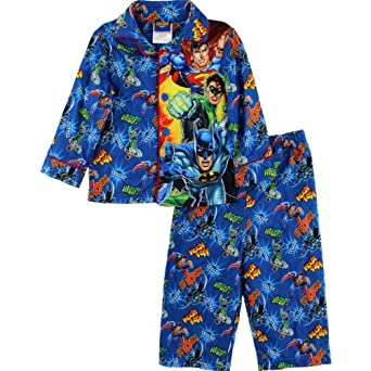 Amazon.com: Justice League Toddler Boys Flannel Coat Style Pajamas ...
