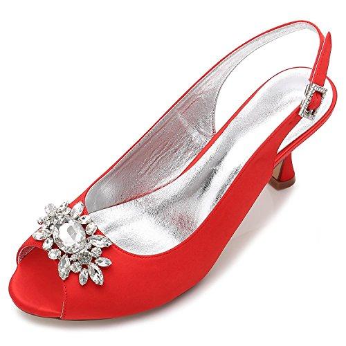 Zapatos Boda Del Vestido Con Las Hebilla Rhinestone yc La E17061 L Satén Red Señoras De Mujeres Tribunal El 58 ftq5WwF