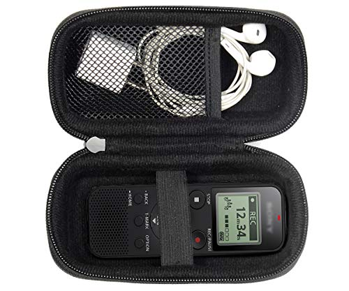 Protective Olympus Case - Digital Voice Recorder Case for Sony ICDPX370, PX440, PX470, BX140; Olympus WS-852, WS-853; KIMAFUN 2.4G and XIAOKOA 2.4G Wireless Lavalier Microphone, mesh pocket in the lid, detachable wrist strap