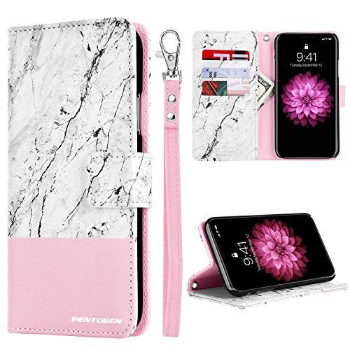 iPhone Xs (2018) Wallet Case, iPhone X/10 Case, BENTOBEN Flip Folio Kickstand Marble Design PU Leather Credit Card Holder Cash Pocket Protective Wallet Case for Apple iPhone X/XS, Pink/Rose Gold