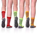 LINEMIN Multi-Function Non Slip Skid Socks with Grips for Hospital Yoga Athletic Slipper Socks for Adults Men Women (3 Pack Green/Red/Orange)