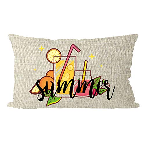 (ITFRO Hello Summer Tropical Lemon Juice Glasses and Fruits Oranges Lumbar Burlap Throw Pillow Case Cushion Cover Sofa Decorative Rectangle 12x20 inches )