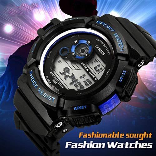 Fanmis Mens Military Multifunction Digital LED Watch Electronic Waterproof Alarm Quartz Sports Watch